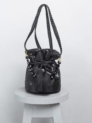 Mochila black lujo negra lentejuelas maytimeless en atizz